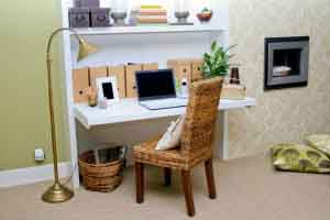 Home office table with notebook and lot of details