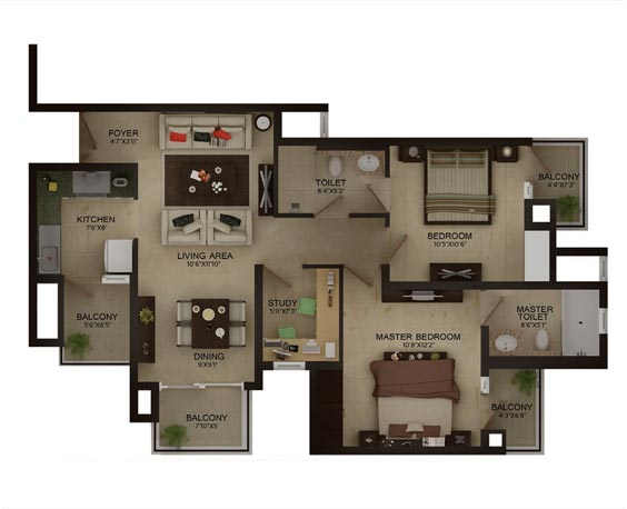 2BHK Unit plan
