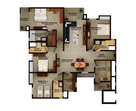 4BHK Unit plan